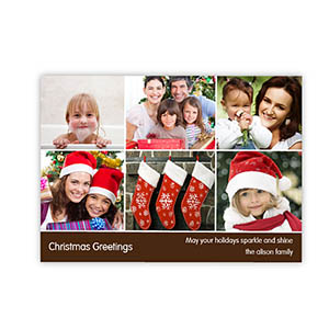 Personalized 6 Photo Very Merry  Chocolate Invitation Holiday Cards