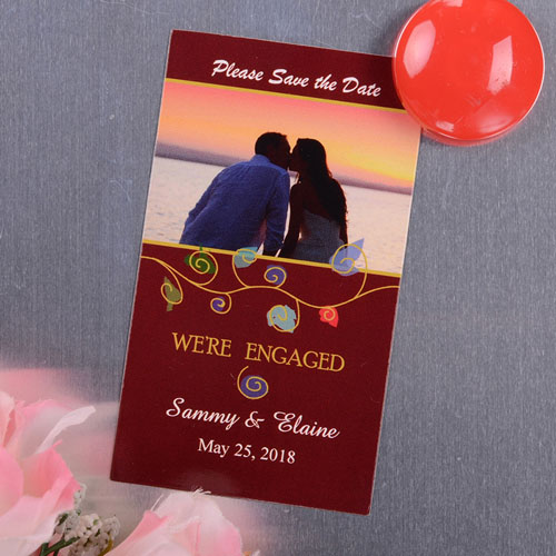 Create And Print Red Artistic Photo Save The Date Magnet 2x3.5 Card Size