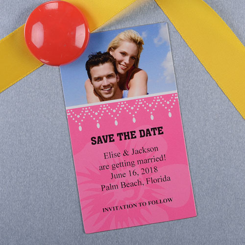 Create And Print Pink Luster Photo Save The Date Magnet 2x3.5 Card Size