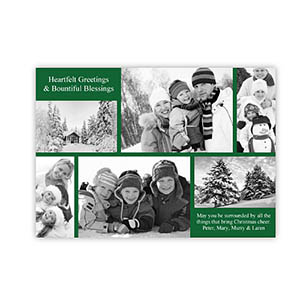 Personalized 6 Photo Christmas Blessing  White Invitation Holiday Cards
