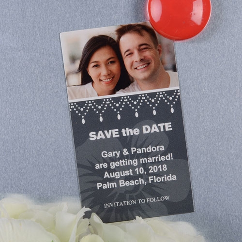 Create And Print Grey Luster Photo Save The Date Magnet 2x3.5 Card Size
