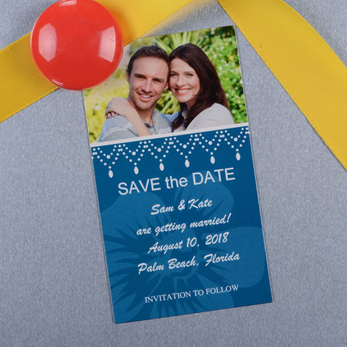Create And Print Blue Luster Photo Save The Date Magnet 2x3.5 Card Size