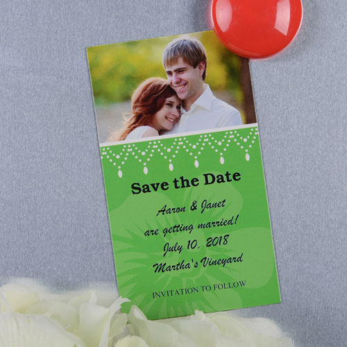 Create And Print Green Luster Photo Save The Date Magnet 2x3.5 Card Size