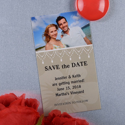 Create And Print Cream Luster Photo Save The Date Magnet 2x3.5 Card Size