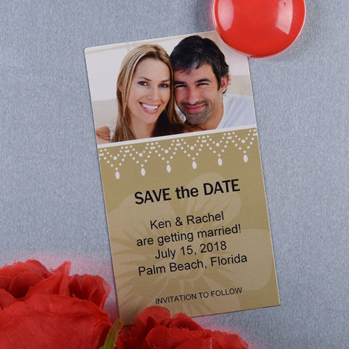 Create And Print Tan Luster Photo Save The Date Magnet 2x3.5 Card Size