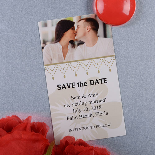 Create And Print White Luster Photo Save The Date Magnet 2x3.5 Card Size