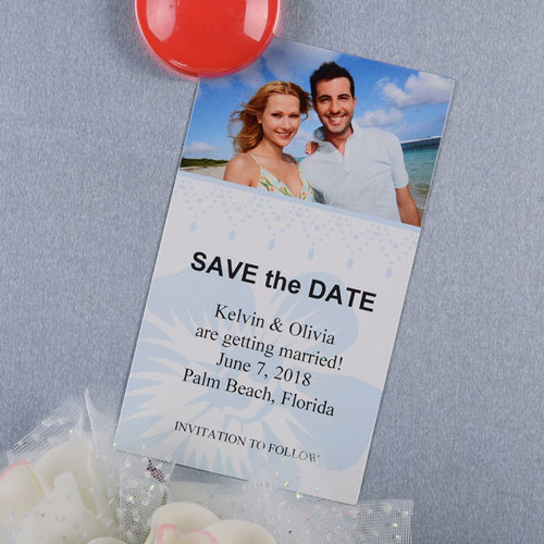 Create And Print Teal Luster Photo Save The Date Magnet 2x3.5 Card Size