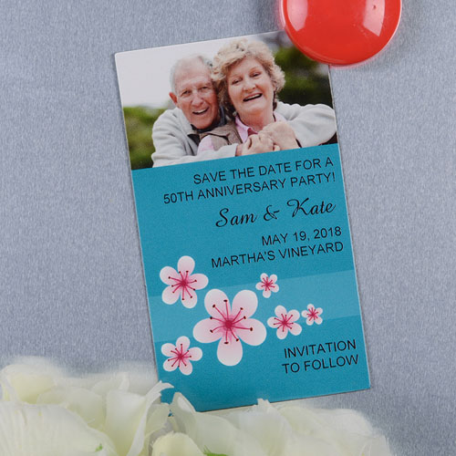 Create And Print Blue Flourish Personalized Photo Magnet 2x3.5 Card Size