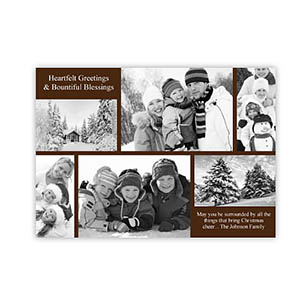 Personalized 6 Photo Christmas Blessing  Chocolate Invitation Holiday Cards