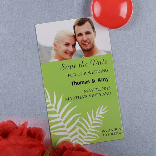 Create And Print Lime Fern Personalized Photo Magnet 2x3.5 Card Size