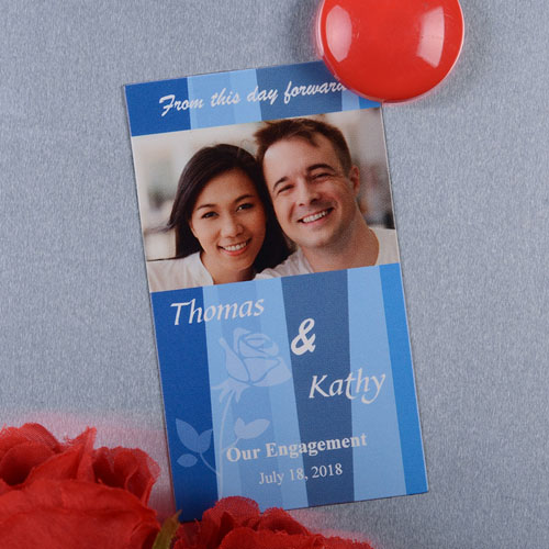 Create And Print Blue Stripe Personalized Save The Date Magnet 2x3.5 Card Size