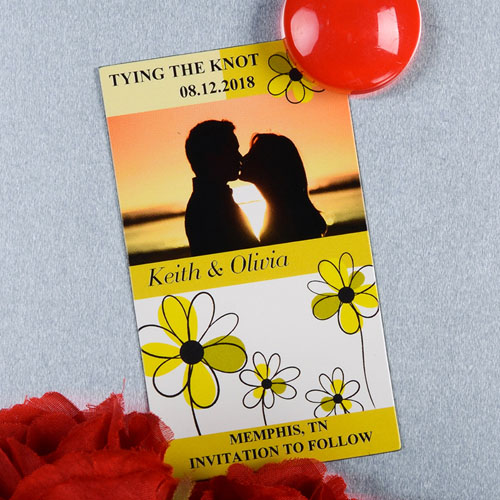 Create And Print Yellow And Gold Floret Personalized Photo Magnet 2x3.5 Card Size