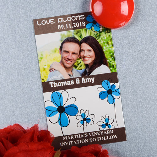 Create And Print Brown And Blue Floret Personalized Photo Magnet 2x3.5 Card Size
