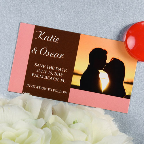 Create And Print Pink Branded Personalized Photo Magnet 2x3.5 Card Size