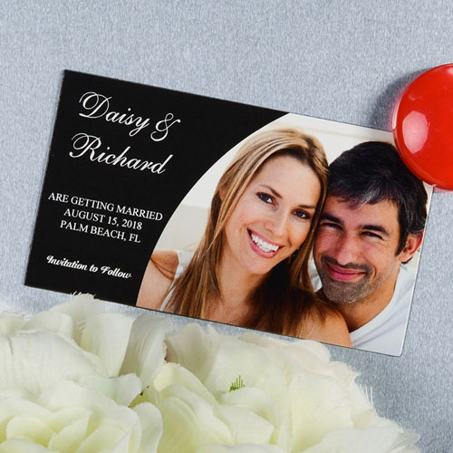 Create And Print Black Simple Personalized Photo Magnet 2x3.5 Card Size
