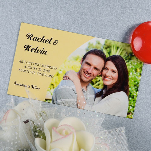 Create And Print Tan Simple Personalized Photo Magnet 2x3.5 Card Size