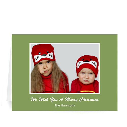 Custom Printed Green Christmas Greeting Card