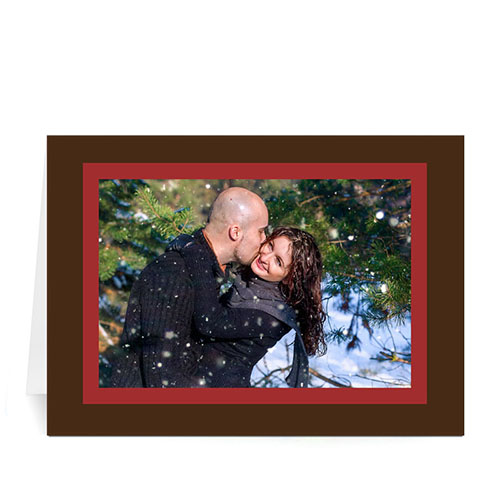 Custom Printed Warm Wishes  Red And Chocolate Greeting Card