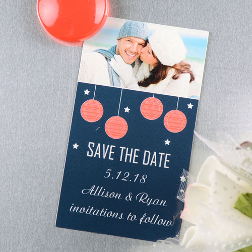 Create And Print Navy Red Lantern Personalized Save The Date Magnet 2x3.5 Card Size