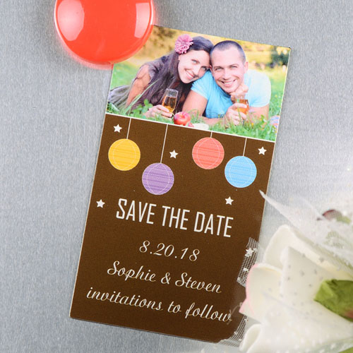 Create And Print Brown Colorful Lantern Personalized Save The Date Magnet 2x3.5 Card Size