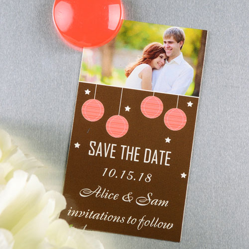 Create And Print Brown Red Lantern Personalized Save The Date Magnet 2x3.5 Card Size