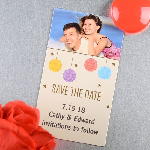 Create And Print Cream Colorful Lantern Personalized Save The Date Magnet 2x3.5 Card Size