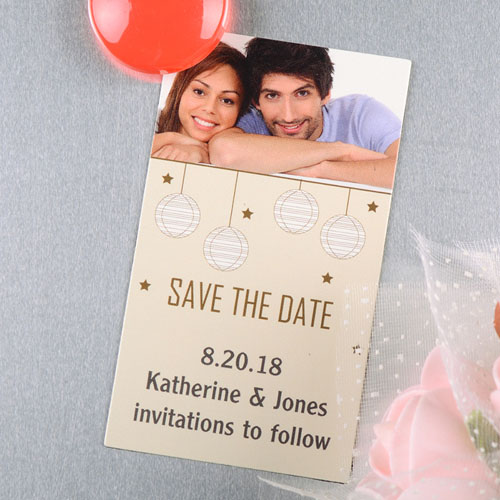 Create And Print Cream White Lantern Personalized Save The Date Magnet 2x3.5 Card Size