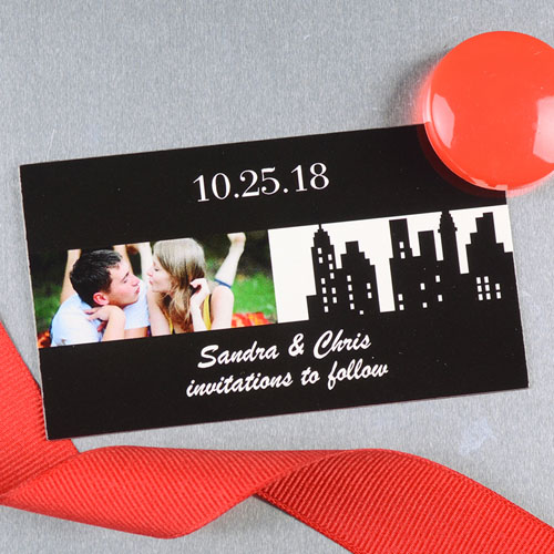 Create And Print Black New York City Personalized Photo Wedding Magnet 2x3.5 Card Size