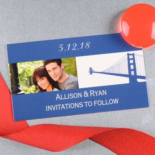 Create And Print Blue San Francisco Personalized Wedding Photo Magnet 2x3.5 Card Size