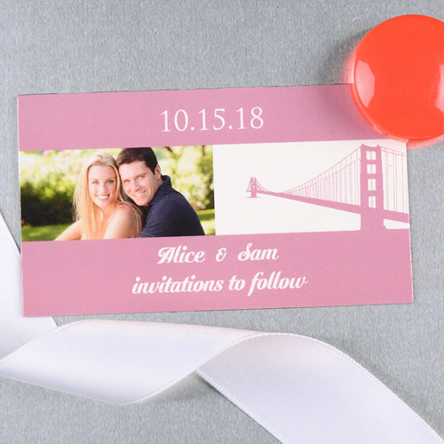 Create And Print Pink San Francisco Personalized Wedding Photo Magnet 2x3.5 Card Size