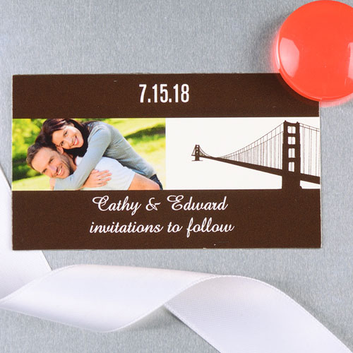 Create And Print Brown San Francisco Personalized Photo Wedding Magnet 2x3.5 Card Size