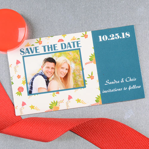 Create And Print Blue Daisy Personalized Save The Date Magnet 2x3.5 Card Size