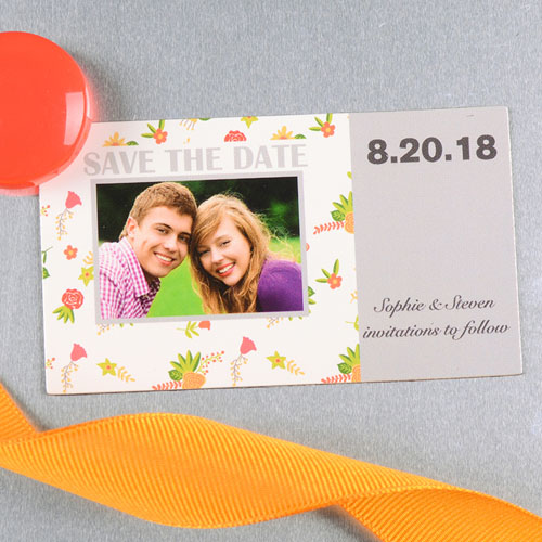 Create And Print Grey Daisy Personalized Save The Date Magnet 2x3.5 Card Size