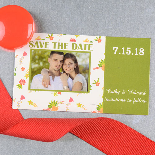 Create And Print Green Daisy Personalized Save The Date Magnet 2x3.5 Card Size