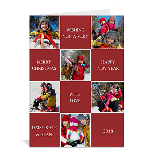 Custom Printed 6 Photo Collage Merry Merry Merry  Red Greeting Card