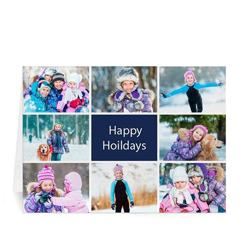 Custom Printed 8 Photo Collage Great Joy  Blue Greeting Card