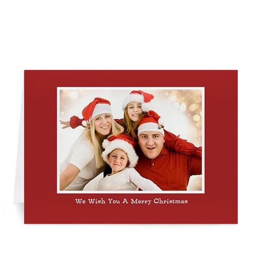 Custom Printed Red Christmas Greeting Card