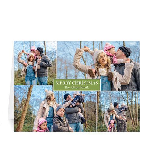 Custom Printed 4 Photo Collage Love Piece Joy  Green Greeting Card