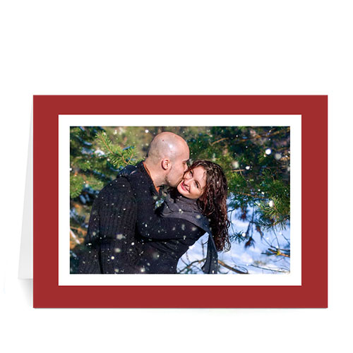 Custom Printed Warm Wishes  Red And White Greeting Card