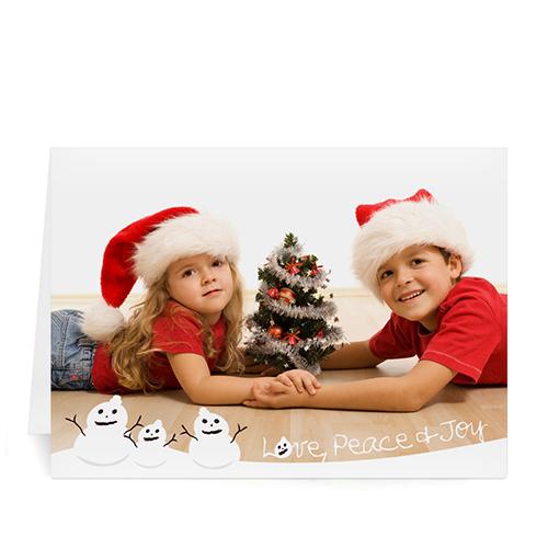 Custom Printed Love, Peace And Joy Greeting Card
