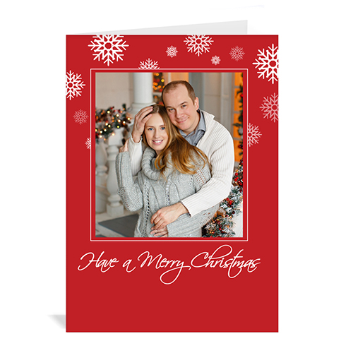 Custom Printed Red Snowflake Greeting Card