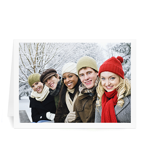 Custom Printed Christmas Picture In Landscape  White Border Greeting Card
