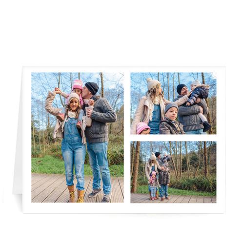 Custom Printed 3 Photo Collage  White Border Greeting Card