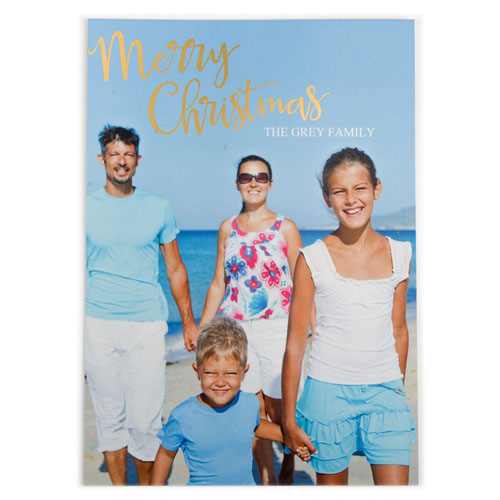 Foil Gold Merry Christmas Personalized Photo Card