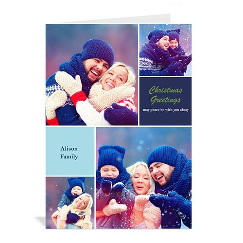 Custom Printed 4 Photo Collage Christmas Wish  Blue Greeting Card