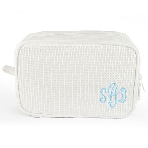 9985c2009b Monogrammed Embroidered White Cotton Waffle Weave Cosmetic Bag. View