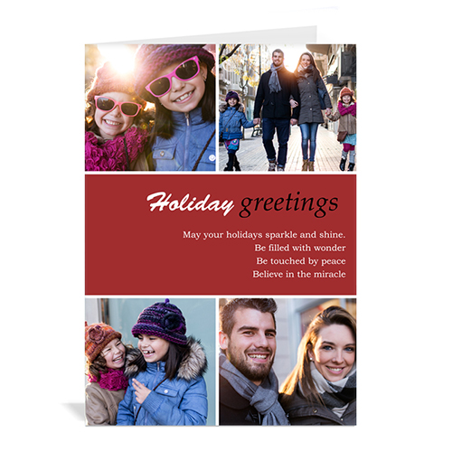 Custom Printed 4 Photo Collage Peace On Earth  Red Greeting Card