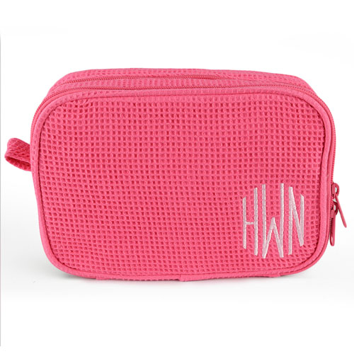 Monogrammed Embroidered Hot Pink Cotton Waffle Weave Cosmetic Bag