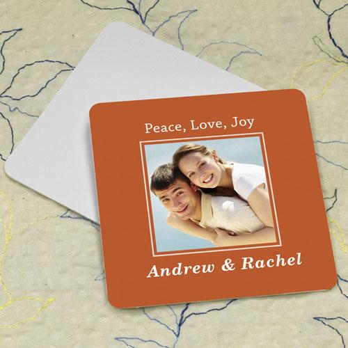 Orange Personalized Photo Square Cardboard Coaster