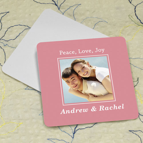 Carol Personalized Photo Square Cardboard Coaster